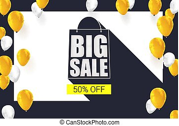 Big sale shopping bag silhouette with long shadow. Selling banner, discount fifty percent on a yellow button backdrop with white and yellow flying inflatable balloons. Horizontal black background