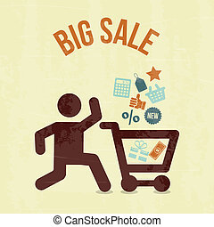 big sale shopping over cream background vector illustration
