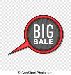 Big sale sign icon, cartoon style
