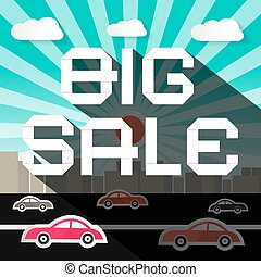 Big Sale Slogan on City with Road and Cars Background
