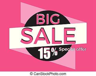 Big sale, special offer. Discount of 15%. Banner template design. Vector illustration
