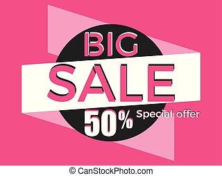Big sale, special offer. Discount of 50%. Banner template design. Vector illustration