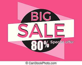 Big sale, special offer. Discount of 80%. Banner template design. Vector illustration