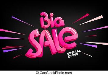 Big sale special offer. Vector lettering banner