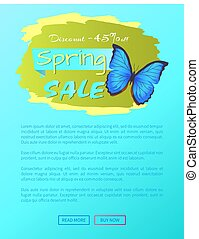 Big Sale Spring Discount Offer Label Butterfly