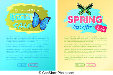 Big Sale Spring Discount Offer Labels Butterflies