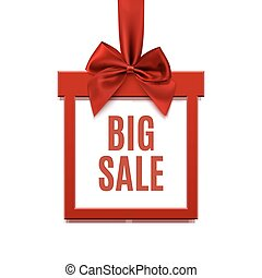 Big sale, square banner in form of gift on white.