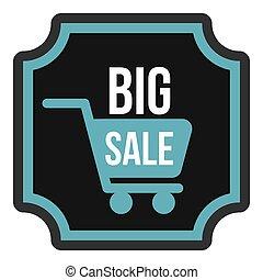 Big sale sticker icon, flat style