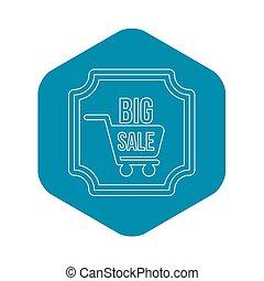 Big sale sticker icon, outline style