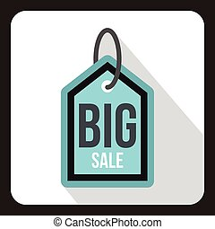 Big sale tag icon, flat style