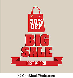 big sale text and 50% off market bag on light brown ...