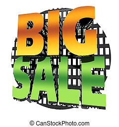 three dimensional graphic depicting a big sale