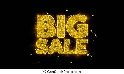 Big Sale Typography Written with Golden Particles Sparks...