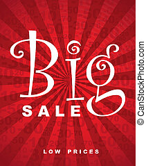 Big sale over red background with lines vector illustration
