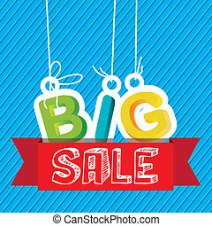 Big Sale - Illustration of Big Sale label, in bright colors,...