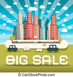 Big Sale Vector Illustration with City and Cars