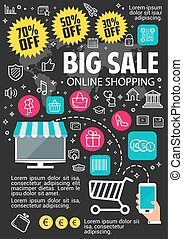 Big sale vector online shopping poster