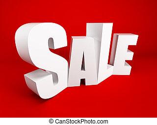 big sale - white symbol of sale, 3d rendering