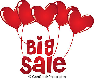 big sale with hearts balloons isolated over white...