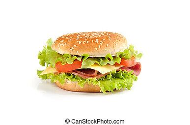 Big sandwich isolated on white background