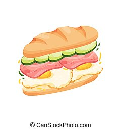 Big sandwich made from halves long loaf. Vector illustration on white background.