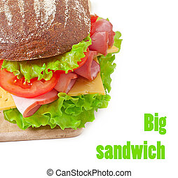 Big sandwich with ham