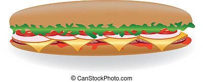 sandwich - Big sandwich with lettuce, tomato, salami,...