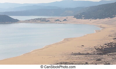 Big sandy beach from above panorama