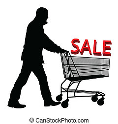 Big save in a shopping cart. Concept of discount vector...