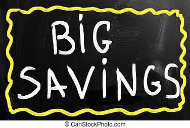 """Big savings"" handwritten with white chalk on a blackboard"