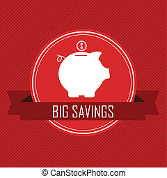 big savings label with a pig on red background