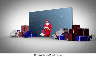 Big screen christmas and family's a