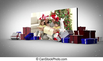 Big screen with family animation