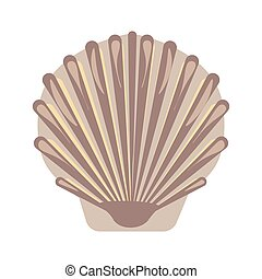 Big sea shell with uneven surface isolated illustration -...