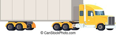 Big semi truck. Concept logistic and delivery cargo auto transportation. Heavy american red tractor pulls the trailer.