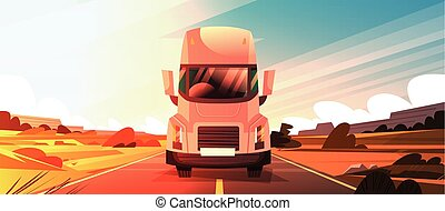 Big Semi Truck Trailer Driving On Coutryside Road Over...