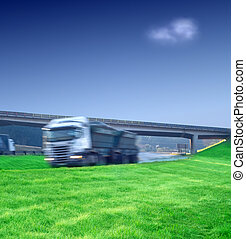 Big semi truck transport on highway - Big semi truck...