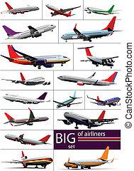 Big set 0f  Airliners. Vector illustration