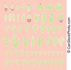 Big set cactus succulents vector illustration