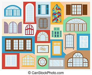 House constructor. Windows. - Big set City generator. House...