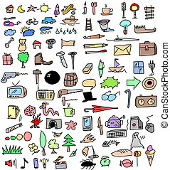 Big set color hand drawn objects