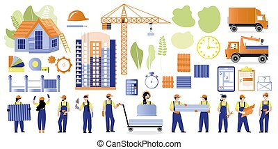 Big set construction theme. Illustrations of builders and houses, machines, building materials and a crane. Vector set for design on the theme of construction