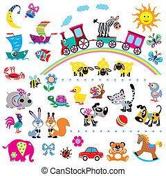big set for kids - big set with cartoon animals and toys for...