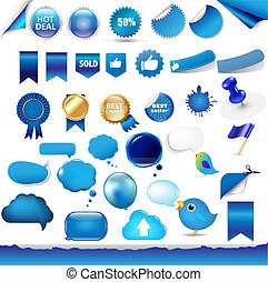 Big Set From Objects Of Blue Color With Gradient Mesh,...
