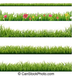 Big Set Green Grass And Flowers Borders With Gradient Mesh, Vector Illustration