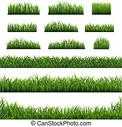 Big Set Green Grass Border Background
