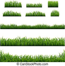 Big Set Green Grass Borders Background
