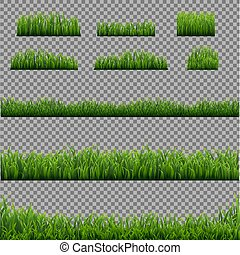 Big Set Green Grass Borders Transparent Background