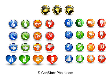 Big set icons buttons. Thumbs up green and blue - orange...