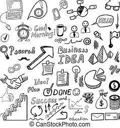 Big set od business doodles, hand drawn icons. - Big set od...